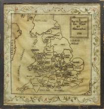 Map of England, Stitched by Elizabeth Ross 1788
