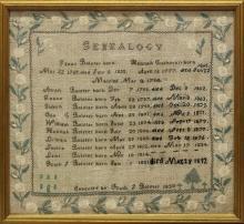 Ruth Bolster 1833 Genealogy Sampler