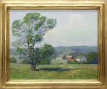 Fern I Coppedge (1883-1951 Pennsylvania, Kansas, Illinois) Landscape with Red Barn