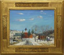 Walter Emerson Baum (1884-1956, Pennsylvania) Winter Village Landscape