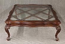 Glass Top Center Table, Walnut, Scrolled Edge Diagonal Supports on Cabriole Legs and Trifid Feet, (Good Condition), 17