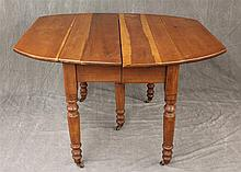 Gateleg Table, Cherry on Turned Legs and Casters, 28 1/2