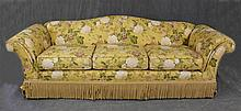 Smith-Crafte, Camelback Sofa, Yellow Floral Upholstery and Tassels, 32