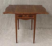 Pembroke Table, Mahogany, Serpentine Top, Single Drawer on Square Tapered Legs, 28 1/4