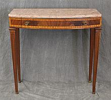 Console Table, Mahogany, Marble Top, Veneered and Inlaid Single Drawer on Tapered Legs, 30