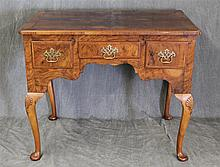 Queen Anne Style Lowboy, Walnut and Burl Wood, Three Drawers, Scalloped Apron, Shell Carved Cabriole Legs on Pad Feet, 30 1/2