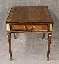 Heritage, Side Table, Walnut, Veneered Trim and Single Drawer on Fluted Tapered Legs, 22