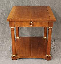 Baker Furniture, Side Table, Mahogany, Single Drawer with Shelf Stretcher, 25