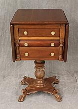 Dropleaf Work Table, Walnut, Two Drawers and Center Slide Drawer, Leaf and Shell Carved Pedestal on Paw Feet, 29 1/2