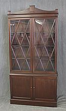 Bookcase, Mahogany, Undulated Cornice, Two Glazed Doors over Two Panel Doors, 74 1/2