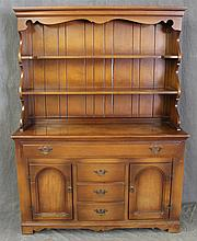 Empire, Dish Cupboard, Maple, Molded and Scrolled Cornice, with Scrolled Backboard, One Drawer over Two Doors and Three Center Drawe...