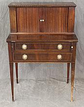 Lady's Desk, Mahogany, Tambor Doors with Three Drawers and Pigeon Hole Fitted Interior, Fold Out Desk over Two Drawers with Painted...