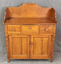 Dry Sink, Pine, Backsplash, Three Drawers over Two Doors on Turned Legs, (Damage to Legs), 43