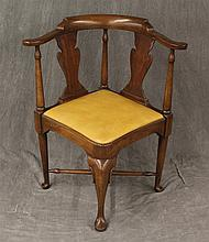 Queen Anne, Corner Chair, Walnut, Vasiform Splats, Scrolled Open Arms, Yellow Leather Seat, Cabriole Legs on Pad Feet, X Stretcher,...