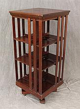 Revolving Bookcase, Mahogany Three Tiers, Joint Separation on Casters, 33