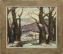 Broome, Lloyd Wesley, 20th c., Massachusetts/ Florida, Winter Scene. Oil on Canvas.