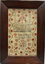 Jane Williams 1838 Sampler