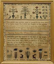 Caroline Kettel 1857 Adam & Eve Sampler