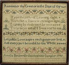 Amelia Beuzeville 1795 Band Sampler