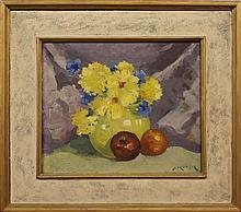 Molarsky, Abram, 1880-1955, New Jersey/ Russia, Still Life with Flowers & Fruit. Oil on Board.