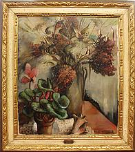 Greenwood, Laura, 1897-1951, Pennsylvania, Floral Still Life with Sea Shell. Oil on Canvas.