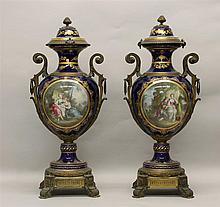 Pair of Poitevin Sevres Porcelain Urns