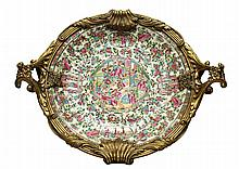 Chinese Export Famille Rose Porcelain & Gilt Bronze Tray