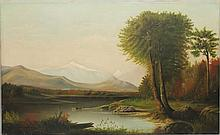 Streeter, Etta M., 19th c. Landscape with Figures & Cattle. Oil on Canvas.
