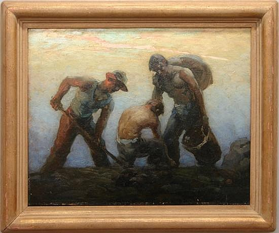 Jambor, Louis, 1884-1955, New York, Workers in the Field. Oil on Board.