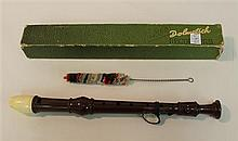 Baroque soprano recorder by Dolmetsch, plastic; condition: fair; with swab and box