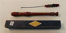 Baroque sopranino recorder by Alexander Henrich, wood; condition: fair; with swab and box