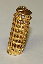 18KY Gold, Leaning Tower of Pisa Charm