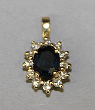14KY Gold, Sapphire and Diamond Pendant