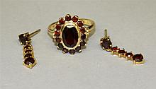 14KY Gold, Garnet Ring and Earrings Set