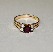 14KY Gold, Ruby Red Gemstone and Diamond Ring