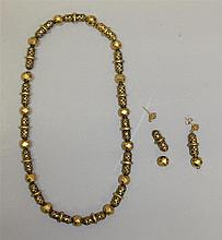 Antique Gold Bead Necklace and Earrings