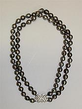 14K White Gold, Dark Grey Pearl and Diamond Necklace