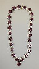 14K Yellow and White Gold, Ruby and Diamond Necklace