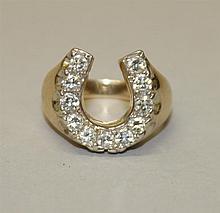 14K Yellow Gold, Diamond Horseshoe Ring