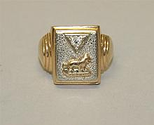 14K Yellow and White Gold, Diamond Ring with Lion Emblem