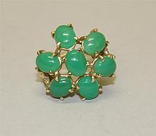 14K Yellow Gold, Green Jade Ring