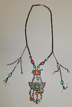 Silver, Turquoise and Coral Necklace