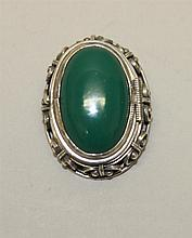Sterling Silver, Green Onyx Type Stone, Locket Pin/Pendant