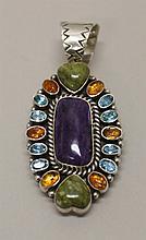 Sterling Silver, Multi-stone, Tonya J. Rafael, Navajo Pin/Pendant