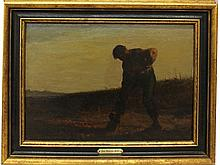 Millet, Jean Francois (In the Manner of), 1814-1875, France, Man in Field. Oil on Board,