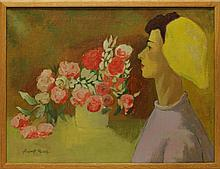 Mosca, August, 1909-2002, New York/ Italy, Woman with Flowers. Oil on Canvas.