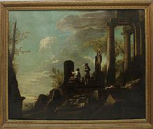 Rosa, Salvator (In the Manner of), 1615-1673, Italy, Men Standing on Ruins. Oil on Canvas.