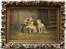 Knaus, Ludwig, 1829-1910, France/Germany, Boy & Girl with Dachshund. Oil on Canvas.