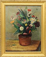 Bosa, Louis, 1905-1981, New York/ Pennsylvania. Floral Still Life. Oil on Board.