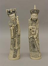 Pair of Republic Period Ivory Carved Chinese Emperor & Empress